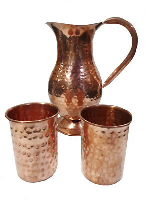 New Pure Copper (inside/ out) Water Jug Pitcher 50 oz / 1.5 ltr w 2 Glasses 12oz