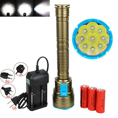 Scuba Diving 20000LM 9x XML T6 LED Flashlight Torch 28650/18650 Underwater 100m