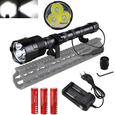 Military 9000LM 3x XML T6 LED Tactical Flashlight Torch Mount Rifle Lamp 3*18650