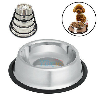 Stainless Steel Non Slip Pet Dog Small Puppy Feeding Bowls Food Drink Dish JS