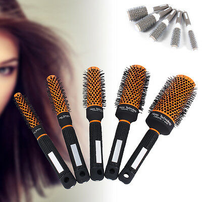 Pro Ceramic Iron Round Curl Brush Comb Hair Dressing Barber Salon Brushes Roll
