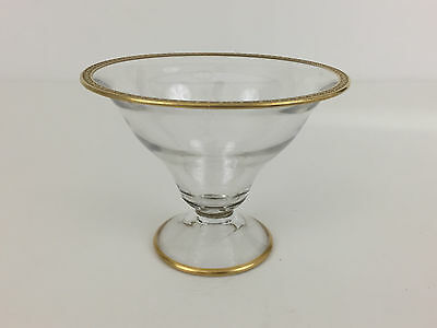 vintage clear glass dish with gold rim 1920's 1930's