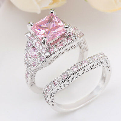 Women Princess Cut Pink Sapphire 925 Sterling Silver Ring Set Wedding Jewelry