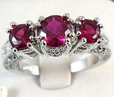 Women 925 Sterling Silver Ruby Gemstone Ring Wedding Engagement Fashion Jewelry
