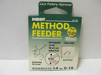Middy Method Feeder Barbless Size 14 To 0.18 Hooks To Nylon