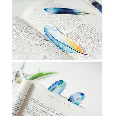 Lot of 30pcs Mocard Paper Feather Shape Bookmark Book Mark Bookmars Message Note