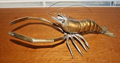 "Vintage 11 1/2"" Long Brass Prawn Shrimp Wall Art Figurine, w Antenna Attached"