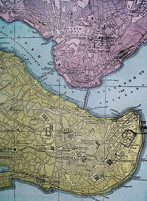 Constantinople & Naples Italy City Street Map 1894 Vintage Cram's Atlas Page