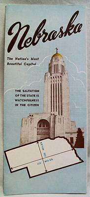 STATE OF NEBRASKA SOUVENIR FACTS & INFORMATION BROCHURE GUIDE 1950s VINTAGE