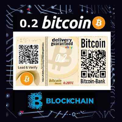 0.2 BITCOIN Gift Certificate International Tracked Delivery BTC Crypto Currency