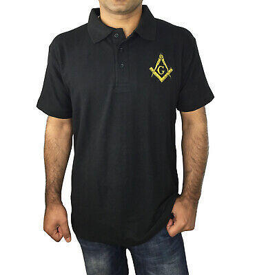 Masonic Golf Polo Shirt with Embroidery Logo Black/Grey/White/Blue