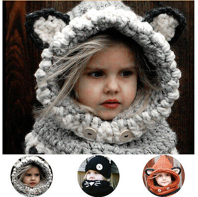 Baby Girl Boys Winter Fox Hooded Scarf Hat Toddler Kids Wool Knitted Crochet Cap