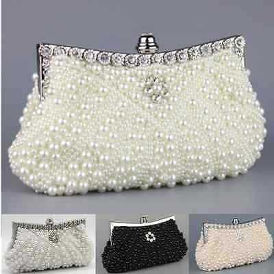 Ladies Diamant Fully Pearled Hand Bag Evening Clutch Wedding Bag Party Prom