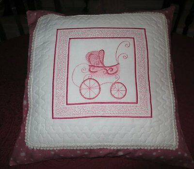 """Darling 16"""" Hand-Made Pillow/cushion Cover  W/ Embroidered Pink Antique Buggy"""