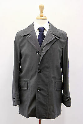 NWT Tom Ford Men's Silk-Wool Gray Tweed Trench Jacket Coat Size 48/38 US