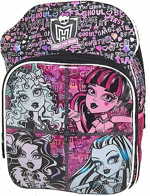 """Monster High Large 16"""" Cloth Backpack Book Bag Pack - Ghouls"""