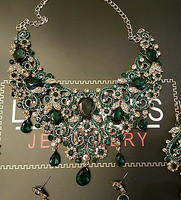 new Indian fashion jewellery - GREEN + Gold Bridal necklace set BOLLYWOOD