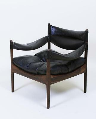 Vintage 1960's  Danish Modern Kristian Solmer Vedel  Leather Easy Lounge Chair
