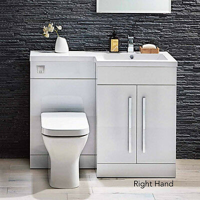 Right or Left Hand Gloss White 1100mm Back To Wall Vanity Toilet Unit Bathroom