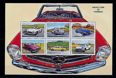 [51320] Zambia 1998 Exotic cars Mercedes Chevrolet Cadillac BMW MNH Sheet