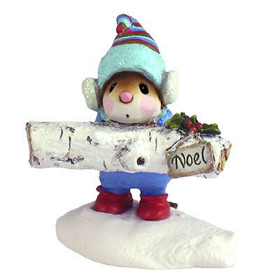 YULE LOG by Wee Forest Folk, WFF# M-337, White Birch Log, Christmas Mouse