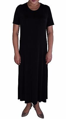Women's Black Slinky Stretch Knit Tunic Short Sleeve Maxi Dresses  Made In USA