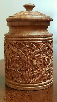 Vintage Hand Carved Wooden Container Detailed floral lidded jar India