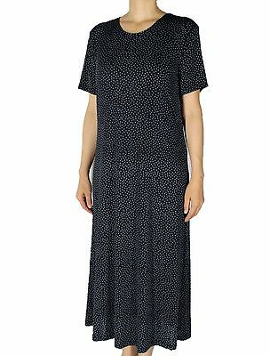 Women's Printed Slinky Stretch Knit Tunic Short Sleeve Maxi Dresses  Made In USA
