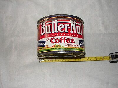 Vintage Butter-Nut Brand  Coffee Tin Advertising Collectible Graphics