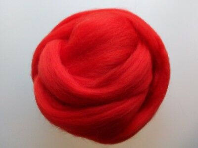 Poppy Red 100% Merino Wool Roving Tops for Felting, 50g