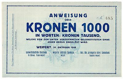Czechoslovakia 1918 1000 Weipert, Very Large Uncirculated / AU Note [1766.0401]