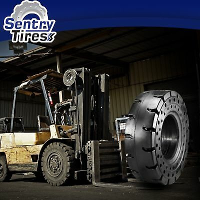 6.50-10 & 5.00-8 Sentry Tire Solid Forklift Rubber Tires DISCOUNT SET (4 TIRES)