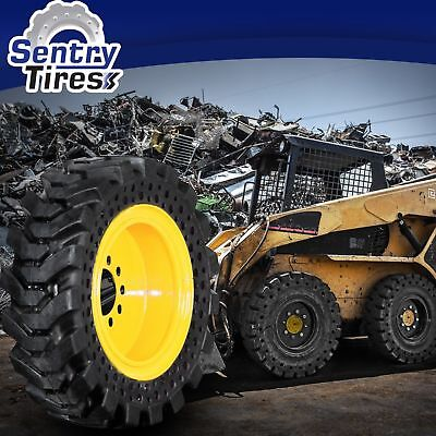 10x16.5 (30x10-16) Sentry Tire Skid Steer Solid Tires  SET OF 4 WITH WHEELS
