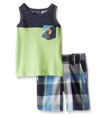 US POLO ASSN:Baby Boys' 2 Piece Pocket Tank Top and Matching Plaid Short Set
