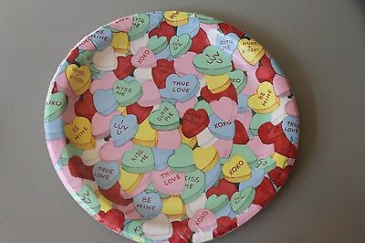 Conversation Hearts Valentines Day Paper Plates 8 7/8 In Set Of 8 New Made In Us