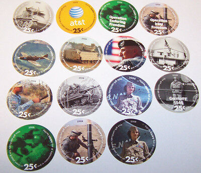 13th  Print  Set  25  Cent AAFES  Pogs 2009 printing   All 15 pogs About Uncir.