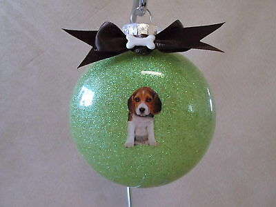 """VERY Unique Handmade Beagle Puppy 3"""" Round Glass Ornament~Made In The USA, NEW!!"""
