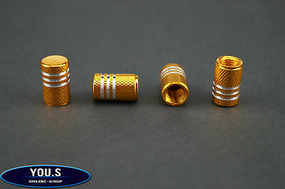 4 Pcs Gold with Silver rings aluminium Valve caps for cars - exclusive