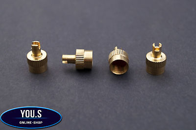 4 Pcs Valve caps with Valve remover Ventileindreher in Gold - car vehicle truck