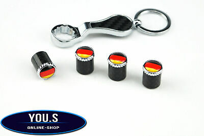 4 x Germany Carbon Flags Valve caps with Theft protection Car Motorcycle