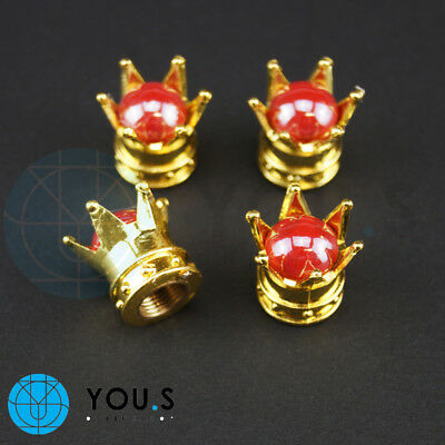 4 Pcs Crowns Dust cap in Gold with red Pearl for cars e.g. Seat Skoda