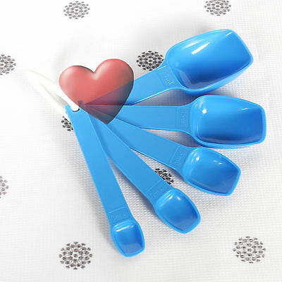 NEW Tupperware Blue Measuring Spoons Bake 2 Basics 5 Piece