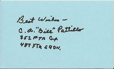 Bill Patillo 352Nd Fighter Group, 487Th Fighter Sqdn Rare Signed Card