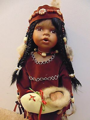 "Rose Collection American Native Indian large 24"" porcelain doll with infant"