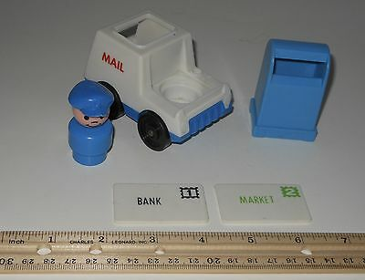 Vintage Fisher Price Little People Mail Truck-Mailbox-Mail -Main Street Play Set