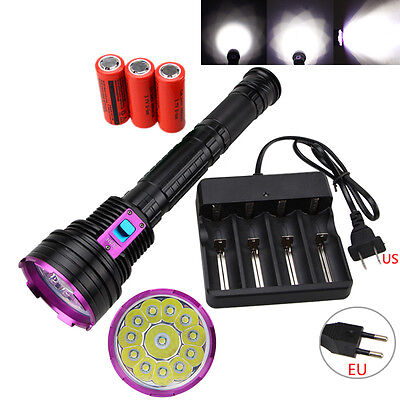 Powerful Diving 30000LM 12x XML T6 LED Scuba Flashlight Torch 3*28650/18650 Lamp