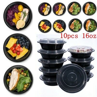 16oz Meal Prep 6'' Round Food Containers with Lids Microwavable Safe Plastic Box