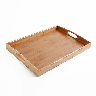 Gibson Home Bamboo Rectangular Serving Tray with Cutout Handle, Brown