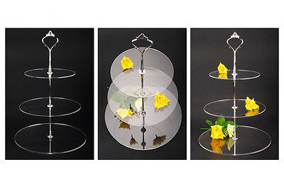 2/3/4 Tier Clear Acrylic Round Cake Cupcake Stand Birthday Wedding Party Display