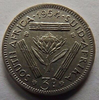 1954 South Africa Silver 3 Pence! Very High Grade! Nice Details!
